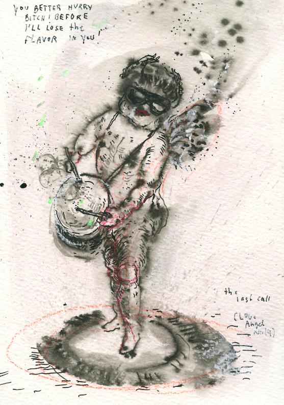 Last Call,  2014, Tusche auf Papier, 24 x 17cm
