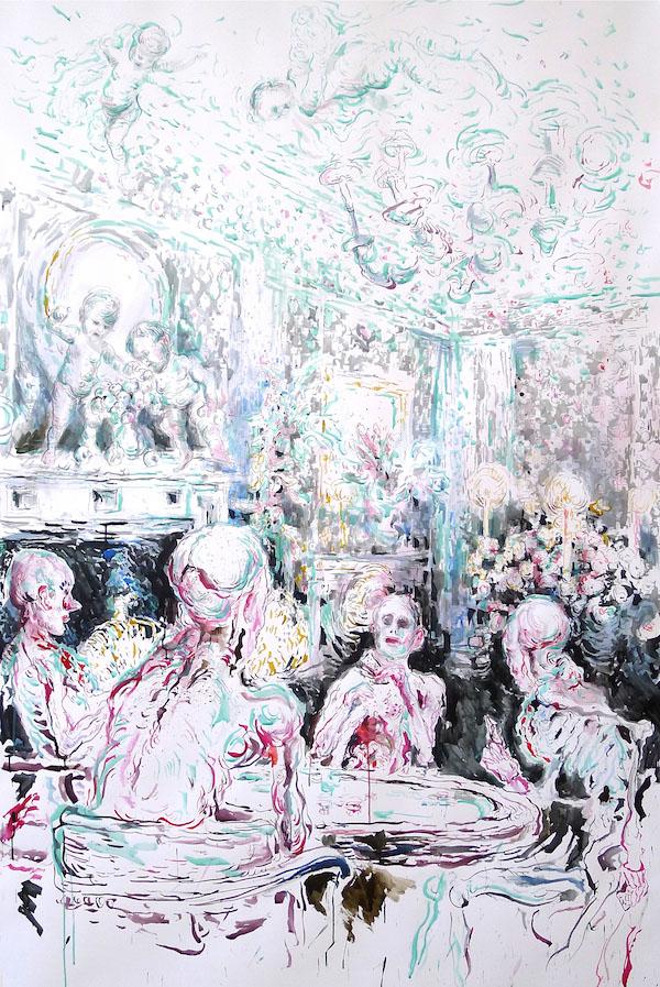 Ulrike Theusner, A Rake's Progress - Gaming House, 2014<br /> Tusche auf Papier, 200 x 130 cm