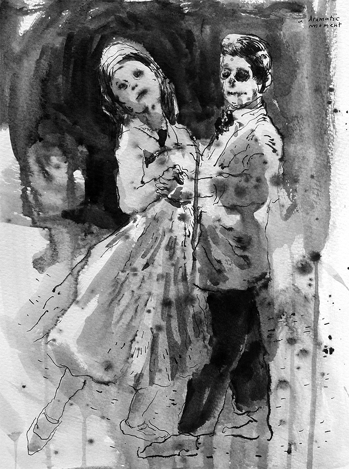 a dramatic moment , 2012, ink on paper, 32 x 24cm